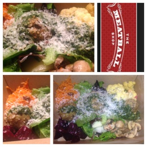 Kitchen Sink Salad with Quinoas Turkey meatballs and pesto sauce