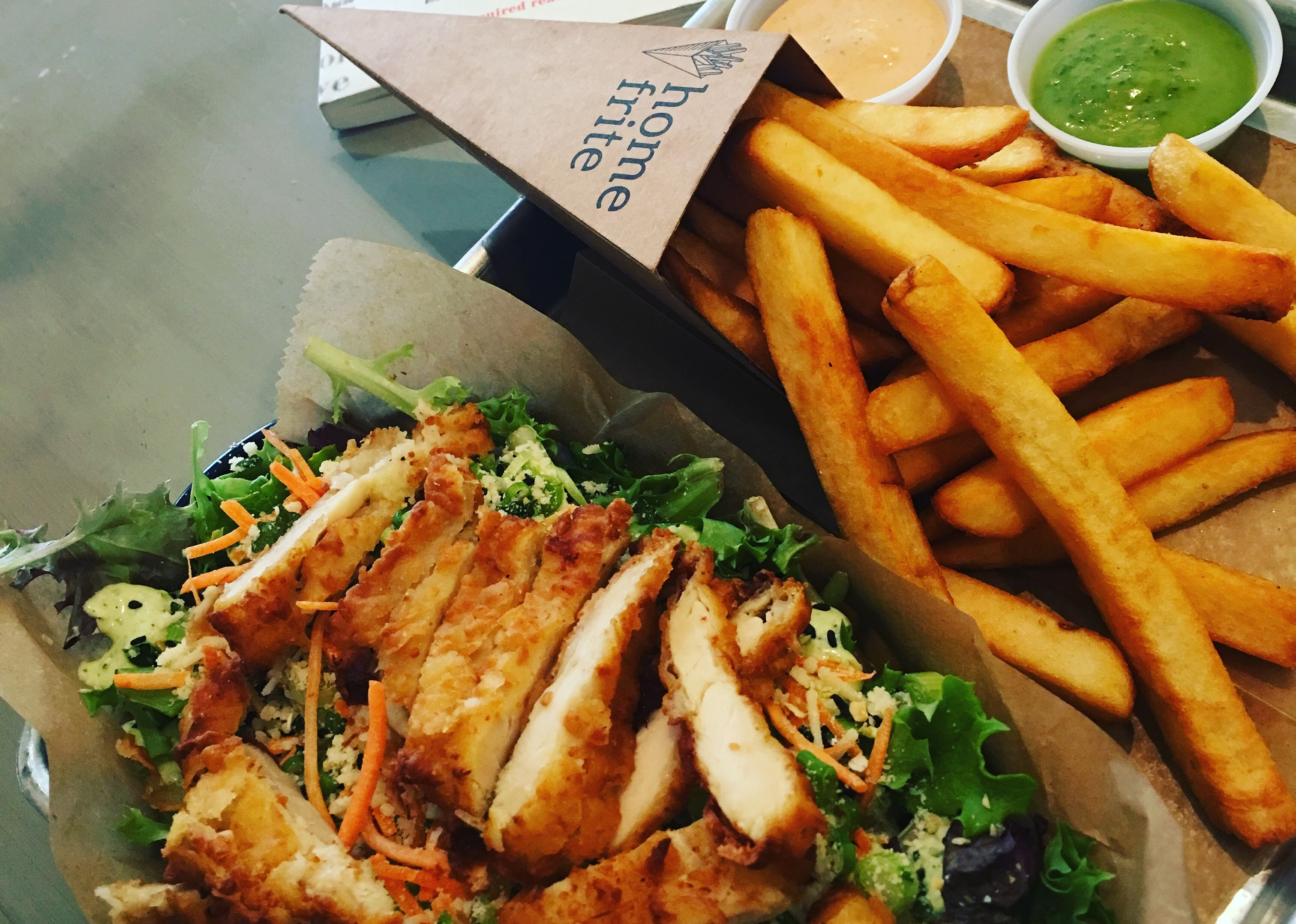 Home Frite- Crispy Chicken Salad and Fries